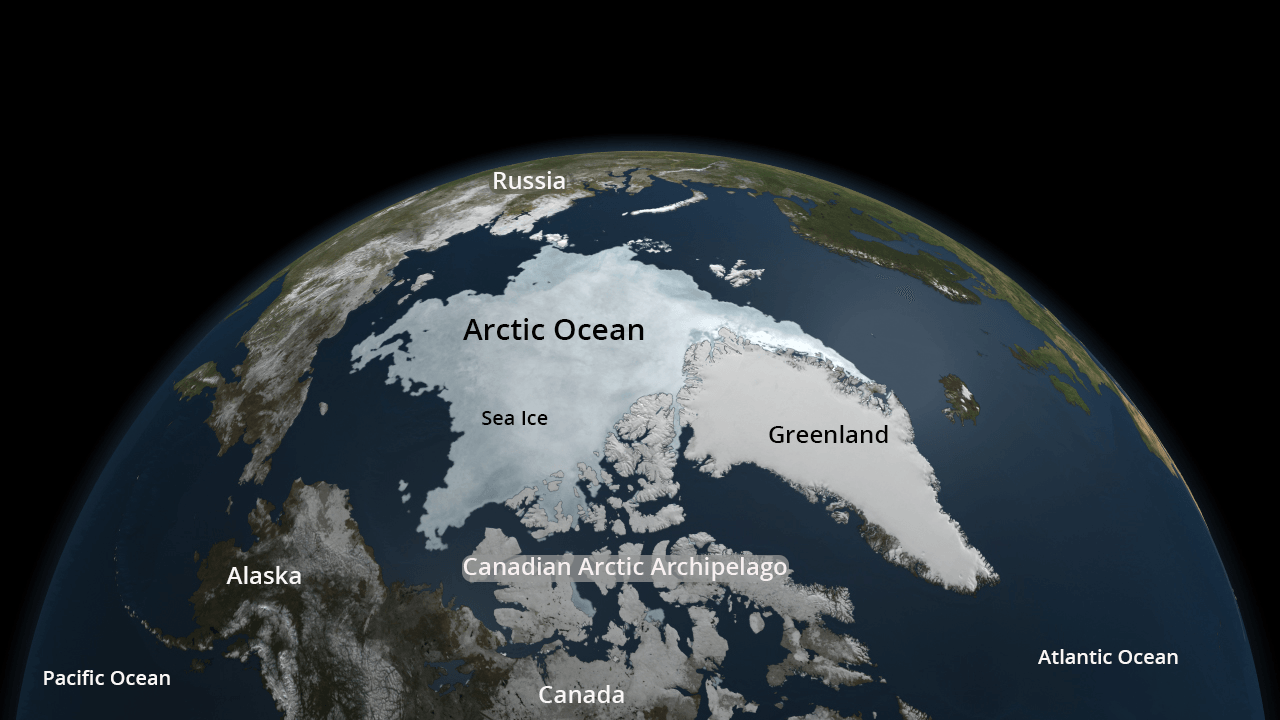 Visualization of Arctic Ocean with geographic labels